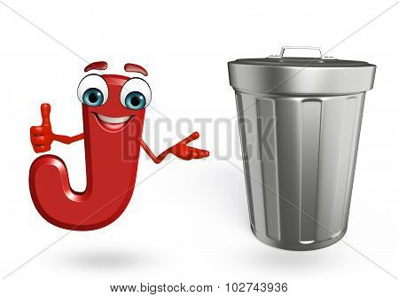 Cartoon Character Of Alphabet J With Dustbin