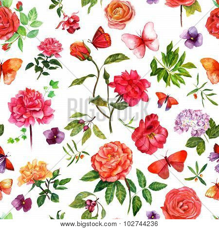 Vintage style seamless pattern with watercolour roses and other plants and butterflies