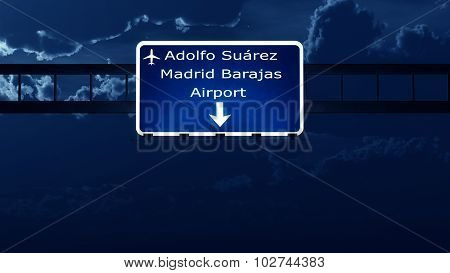 Madrid Spain Airport Highway Road Sign At Night