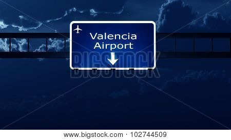 Valencia Manises Spain Airport Highway Road Sign At Night