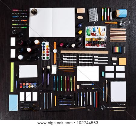 Large Set Of Different Stationery Of Artist Painter Or Student. Real Photo. Pencils, Pens, Notepads