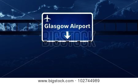 Glasgow Scotland Uk Airport Highway Road Sign At Night