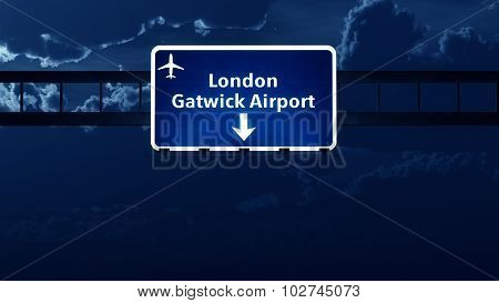 Gatwick London England Uk Airport Highway Road Sign At Night