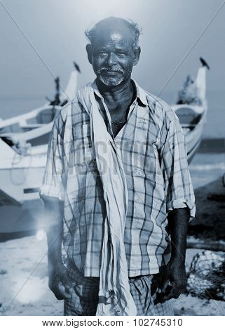 Indian Fisherman Kerela India Solitude Tranquil Concept