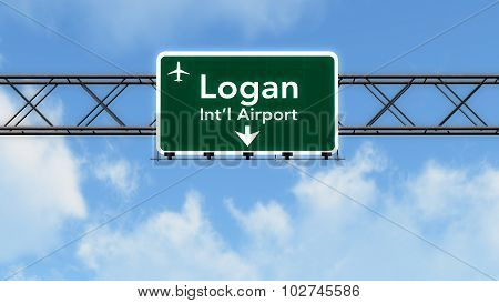 Boston Usa Airport Highway Sign