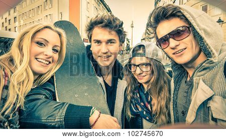 Young Hipster Best Friends Taking A Selfie In Urban City Context - Concept Of Friendship And Fun