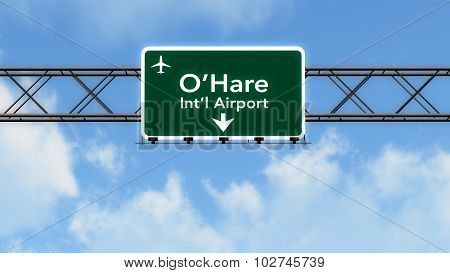 Chicago Ohare Usa Airport Highway Sign