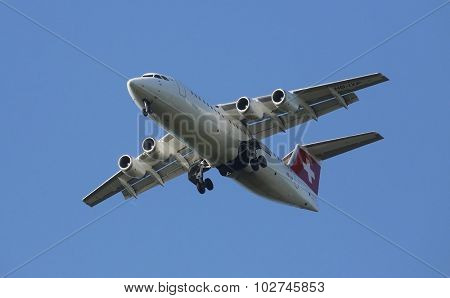 ZAGREB, CROATIA - JUNE 10: Avro RJ100, registration XB-IXP of Swiss  Airlines landing on Zagreb Airport Pleso on June 10, 2015.
