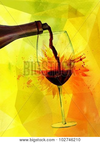 Watercolor depicting red wine poured into of a glass with the help of wine aerator (pour spout)