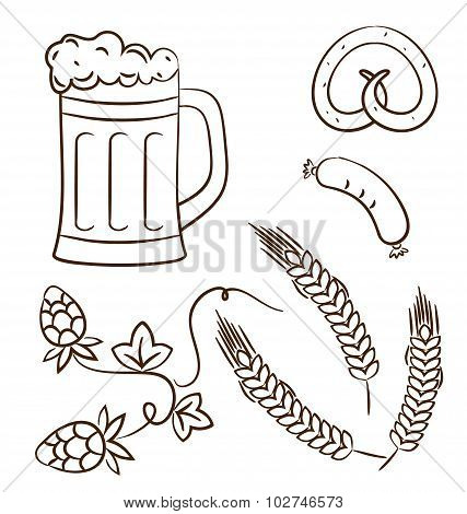 Octoberfest cartoon design elements, hand drawn style