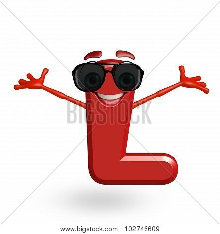 Cartoon Character Of Alphabet L With Goggles
