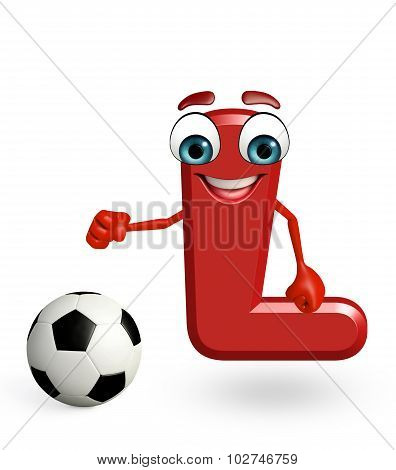 Cartoon Character Of Alphabet L With Football