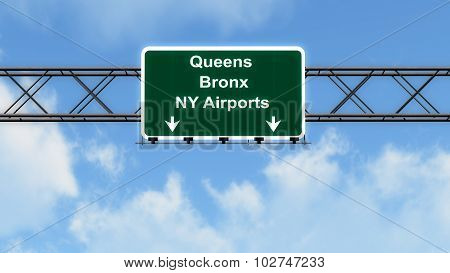 Queens Bronx Ny Airports Usa Highway Sign