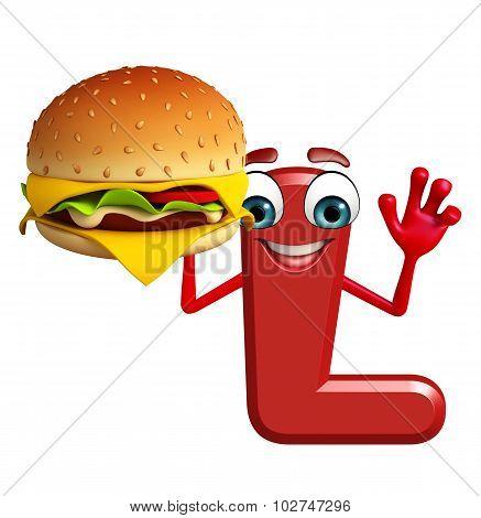 Cartoon Character Of Alphabet L With Burger