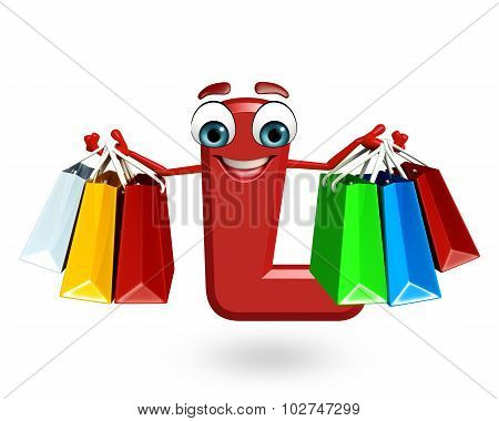 Cartoon Character Of Alphabet L With Shopping Bag