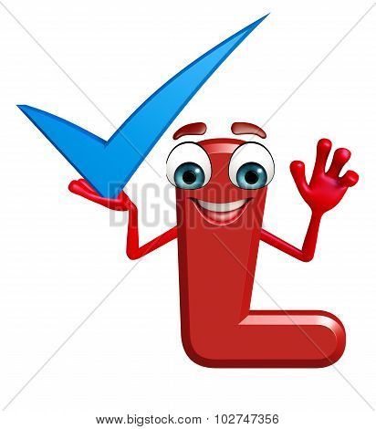 Cartoon Character Of Alphabet L With Right Sign