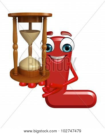 Cartoon Character Of Alphabet L With Sand Clock