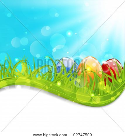 April card with Easter set colorful eggs
