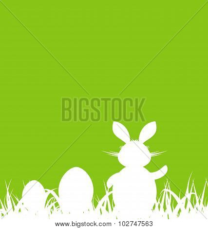 Cartoon green background with Easter rabbit and eggs