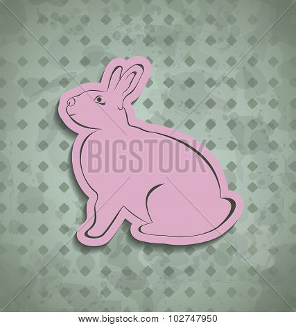 Easter happy vintage poster with pink bunny