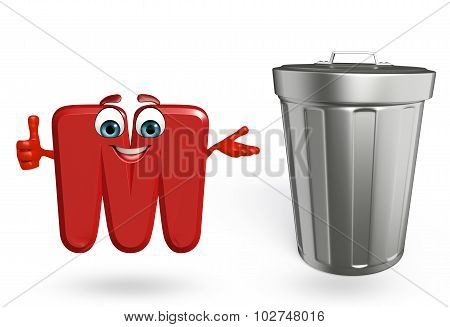 Cartoon Character Of Alphabet M With Dustbin