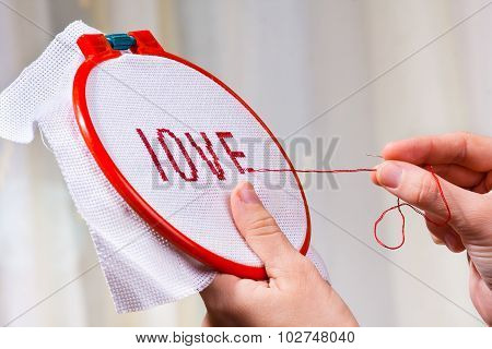 Hands Embroider Cross-stitch A Word Love