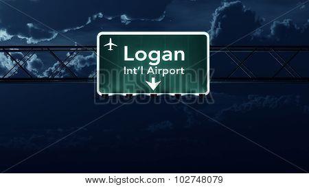 Boston Logan Usa Airport Highway Sign At Night