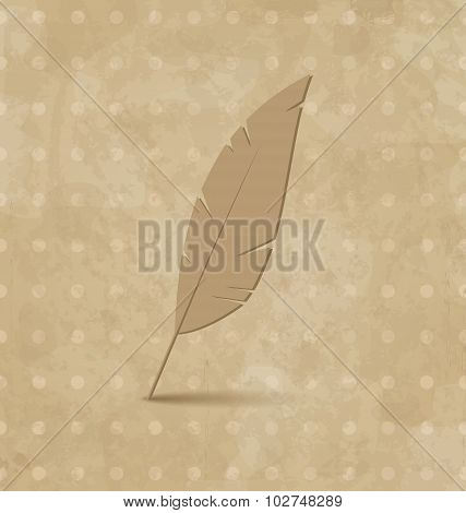 Vintage feather on grunge background