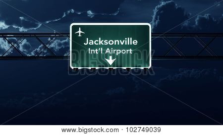 Jacksonville Usa Airport Highway Sign At Night