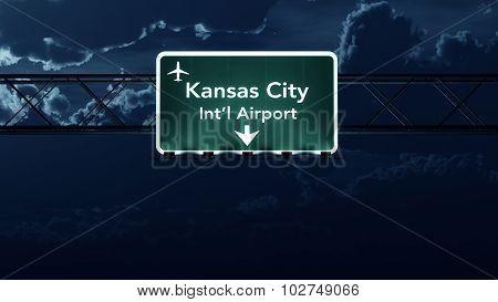 Kansas City Usa Airport Highway Sign At Night