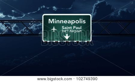 Minneapolis Usa Airport Highway Sign At Night