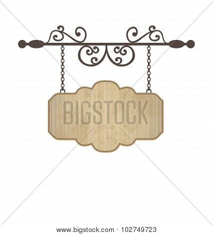 Wooden sign with place for text, floral forging elements