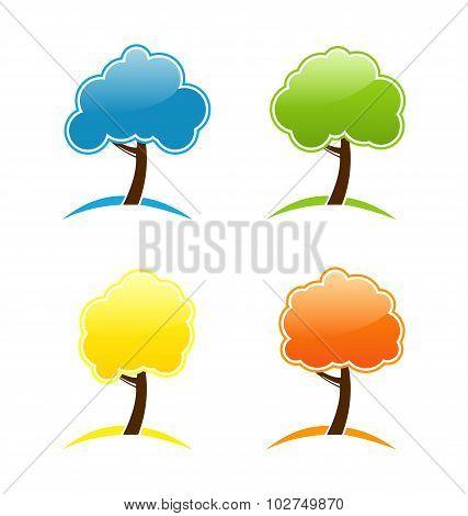 Four seasonal icons with tree