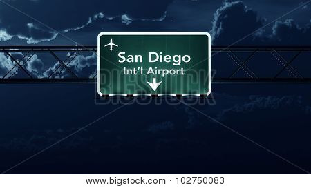San Diego Usa Airport Highway Sign At Night