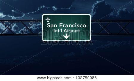 San Francisco Usa Airport Highway Sign At Night
