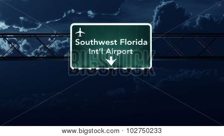 Southwest Florida Usa Airport Highway Sign At Night
