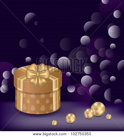 Christmas background with gift box and pearls