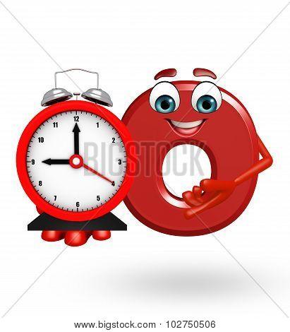 Cartoon Character Of Alphabet O With Clock