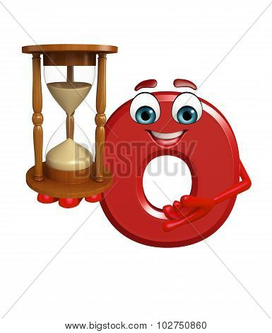 Cartoon Character Of Alphabet O With Sand Clock