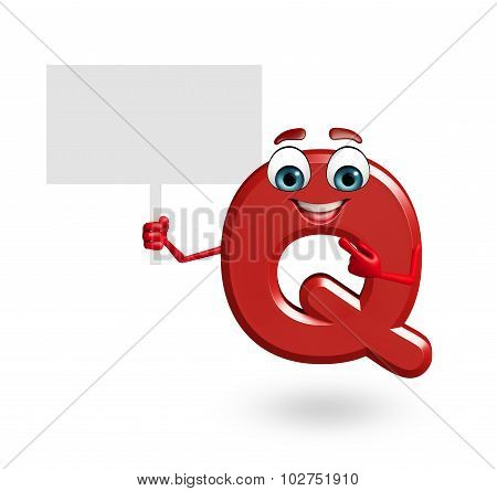 Cartoon Character Of Alphabet Q With Sign