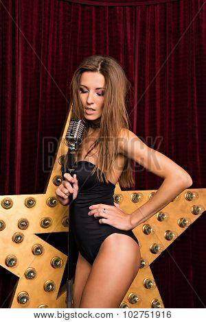 Sexy Girl Singing On Stage