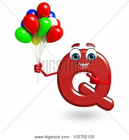 Cartoon Character Of Alphabet Q With Balloons