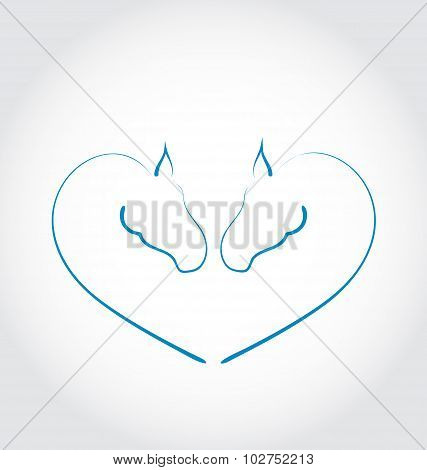 Two horses stylized heart shape