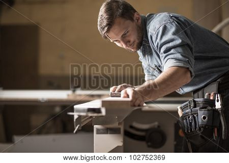Carpenter Focused On His Work