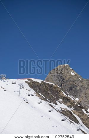 Chairlift on a mountain ski resort