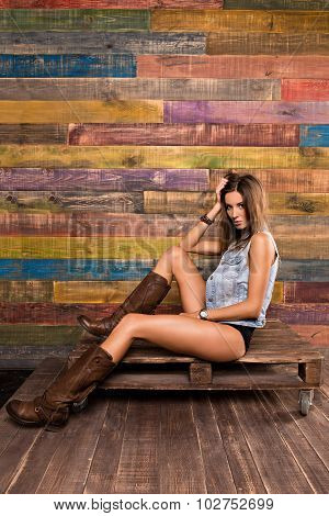 Model Posing In Country Style.