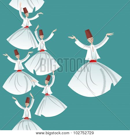 Whirling Dervishes. Seamless Background Pattern.