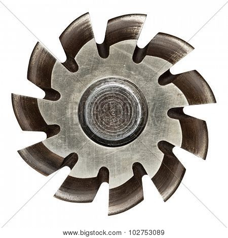 Industrial machine part, metal gear. Isolated on white.