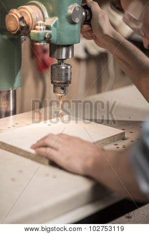 Drilling A Hole In Wood