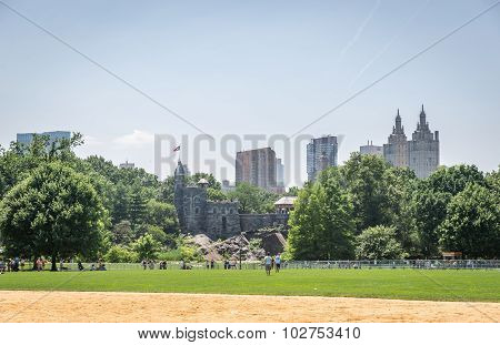 View On The Belvedere Castle In Central Park In New York